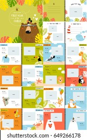 "Vector photo book with cartoon animals for the children, ""the first year of the child"". Frames, stickers, poster, postcard, cover. Kangaroo, bear,panda, whale, summer, tropics. cartoon characters"