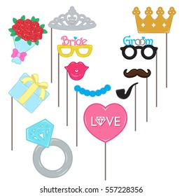 Vector photo booth props for wedding and valentine day collection set. Celebration wedding party groom love bride, Costume illustration.