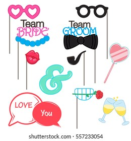 Vector Photo booth props for wedding and valentine day collection set. Celebration champagne groom team and bride team.