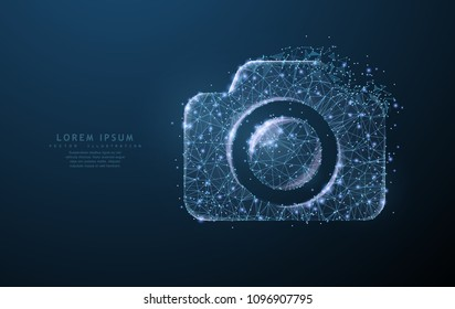 Vector photo camera. Abstract polygonal wireframe camera illustration on dark blue night sky background with dots and stars. Photography, capture symbol