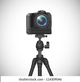 vector photo camera with battery grip on tripod