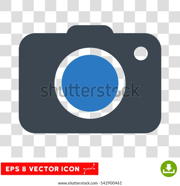 Vector Photo Camera EPS vector icon. Illustration style is flat iconic bicolor smooth blue symbol on a transparent background.