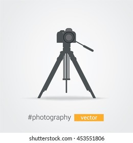 Vector photo camera with shutter on tripod. Design element, eps10