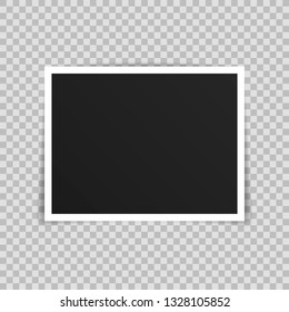Vector Photo frame mockup design. Photo frame isolated on transparent background. Vector illustration.