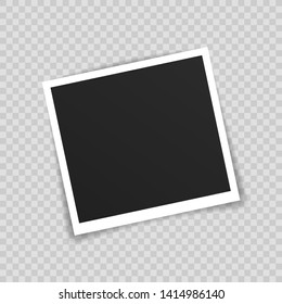 Vector Photo frame mockup design. Photo frame on sticky tape isolated on transparent background. Vector illustration.