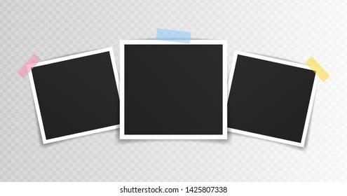 Vector Photo frame mockup design. Photo frame on sticky tape isolated on transparent background. Vector illustration.