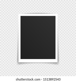 Vector Photo frame mockup design. Super set photo frame on sticky tape isolated on transparent background. Vector illustration.