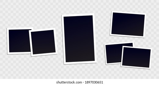Vector photo frame mockup design. White border on a transparent background