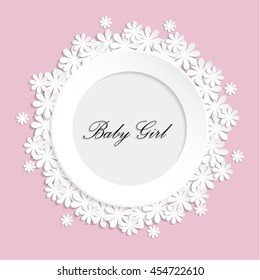 Vector photo frame for newborn girl