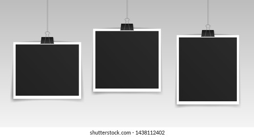 Vector Photo frame set, mockup design. Photo frame hanging on a clip isolated on transparent background. Vector illustration.