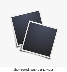 Vector Photo frames mockup design. White border on a white background