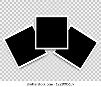 Vector Photo frames set mockup design. Photo icons for web gallery. White border on a transparent background