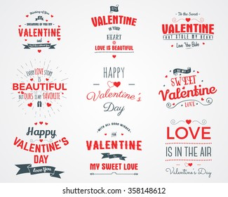 Vector photo overlays, hand drawn lettering collection, inspirational quote. Valentine day labels set. Love is in the air, my sweet love and more on white background. Best for gift card, brochure.