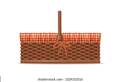 Vector Photo Realistic 3d Illustration Of Empty  Picnic Basket With Checkered Linen. Isolated On White