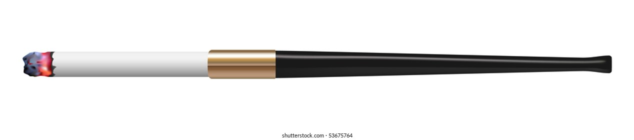 vector photo realistic cigarette in cigarette holder