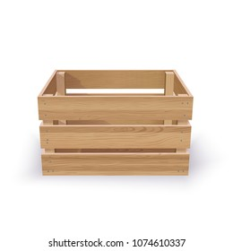 Vector Photo Realistic Empty Wooden Crate Isolated On White. Quality Mockup