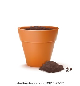 Vector Photo Realistic Illustration Of The Flowerpot With Ground Isolated On White