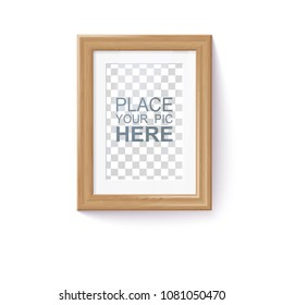 Vector Photo Realistic Natural Wooden Frame And Passe-partout Template