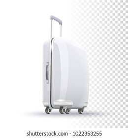 Vector Photo Realistic White Blank Suitcase Layout On Transparent Background