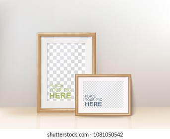 Vector Photo Realistic Wooden Frame Template. Interior Decoration Editable Mockup.