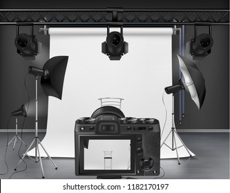 Vector photo studio with white roll-up screen, digital camera, spotlights and softboxes on tripod stands. Concept background, interior with modern lighting equipment for professional photography
