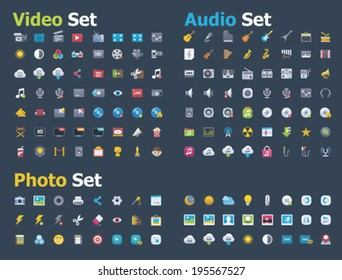Vector photo, video and audio icon set