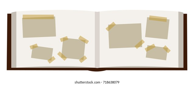 A vector photoalbum book open with empty photos sticked inside the book - all isolated on white background.