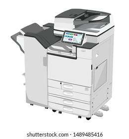 Vector  photocopier and printer ,vector illustration  printing machine , machine ricoh  , vector icon photocopier detailed, Vector  3d