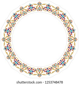 Vector photograph or line art frames for design template. Ornament element for design in Ottoman style, place for text. It is used as wall decoration, dinner plate, ceramic and tile motif, gift card.