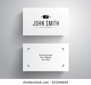 Vector photographer, photography business card template with hipster style design logo. Logotype, brand, branding, corporate, identity, company. Vector eps 10