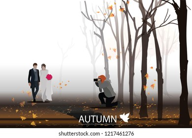 vector photographer take a photo goom and bride on autumn background.pre wedding