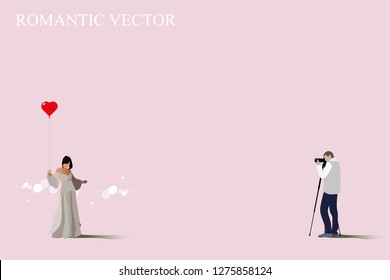 vector photographer take a photo his girlfriend on pink background.red heart shape balloon