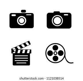 vector photography camera icons set - digital film equipment, multimedia icons