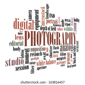 Vector photography concept tag cloud