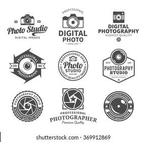 Vector photography logo. Camera shutter, photo camera and lens icons