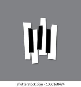 Vector Piano keys, keyboard illustration for music logo, icon, poster design.
