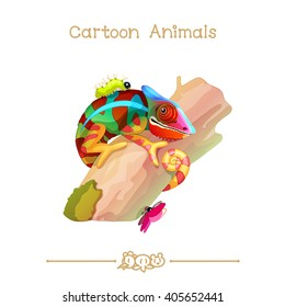 vector pic series Cartoon Animals. Amusing Animals. Colorful chameleon on the tree. Clip art isolated on transparent background. EPS10 without mesh