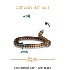vector pic series Cartoon Animals. Amusing Animals. Coiled viper and insects. Clip art isolated on transparent background. EPS10 without mesh