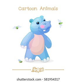 vector pic series Cartoon Animals. Amusing Animals. Hippo and cicadas. Clip art isolated on transparent background. EPS10 without mesh