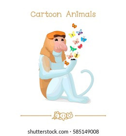 vector pic series Cartoon Animals. Amusing Animals. Proboscis monkey butterflies. Clip art isolated on transparent background. EPS10 without mesh