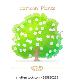 vector pic series Cartoon Plants. Spring flowering tree. Clip art isolated on transparent background. EPS10 without mesh