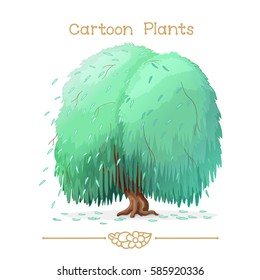 vector pic series Cartoon Plants. Weeping willow. Clip art isolated on transparent background. EPS10 without mesh