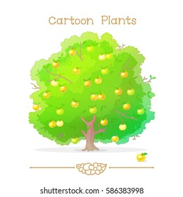vector pic series Cartoon Plants. Autumn green tree. Apple tree full of ripe yellow apples in orchard. Apple-tree with fruits. Clip art isolated on transparent background. EPS 10 illustration