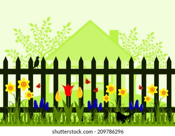 vector picket fence with spring flowers, flowering trees and cottage
