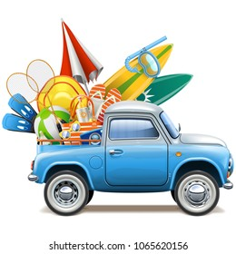 Vector Pickup Truck with Beach Accessories isolated on white background
