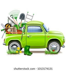 Vector Pickup Truck with Garden Accessories isolated on white background