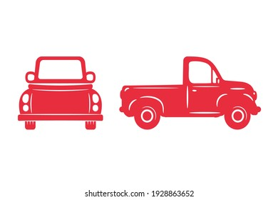 Vector pickup truck silhouette Red pickup trucks for carrying goods on the farm.