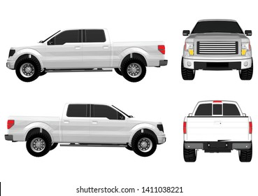 Vector pickup truck with white background