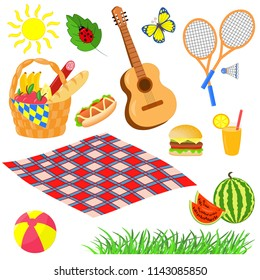 Vector picnic set: basket, blanket, food, guitar, badminton, ball, watermelon, snack, juice, butterfly, ladybug, isolate on white background