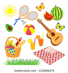 Vector picnic set: food basket, blanket, juice, watermelon, guitar, ball, badminton, isolate on white background